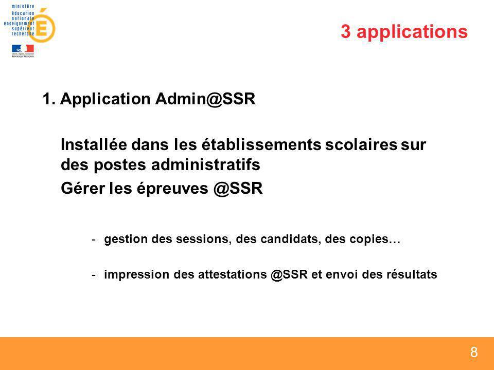 8 8 8 3 applications 1. Application Admin@SSR Installée dans les établissements scolaires sur des postes administratifs Gérer les épreuves @SSR -gesti