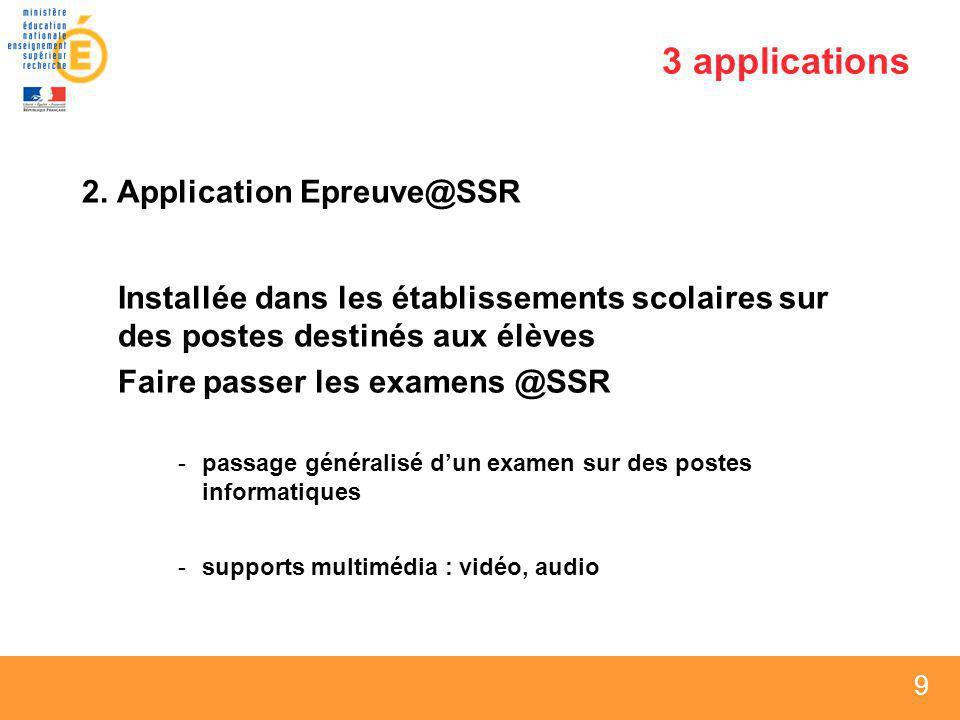 9 9 9 3 applications 2. Application Epreuve@SSR Installée dans les établissements scolaires sur des postes destinés aux élèves Faire passer les examen