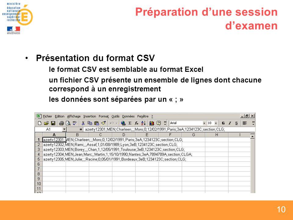10 Préparation dune session dexamen Présentation du format CSV le format CSV est semblable au format Excel un fichier CSV présente un ensemble de lignes dont chacune correspond à un enregistrement les données sont séparées par un « ; »