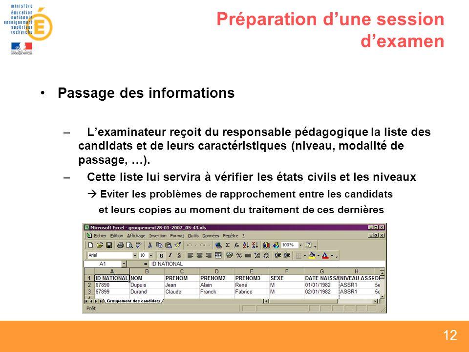 12 Préparation dune session dexamen Passage des informations –Lexaminateur reçoit du responsable pédagogique la liste des candidats et de leurs caractéristiques (niveau, modalité de passage, …).