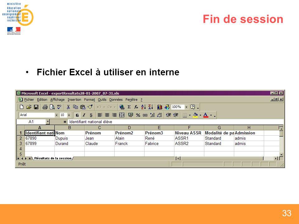 33 Fin de session Fichier Excel à utiliser en interne