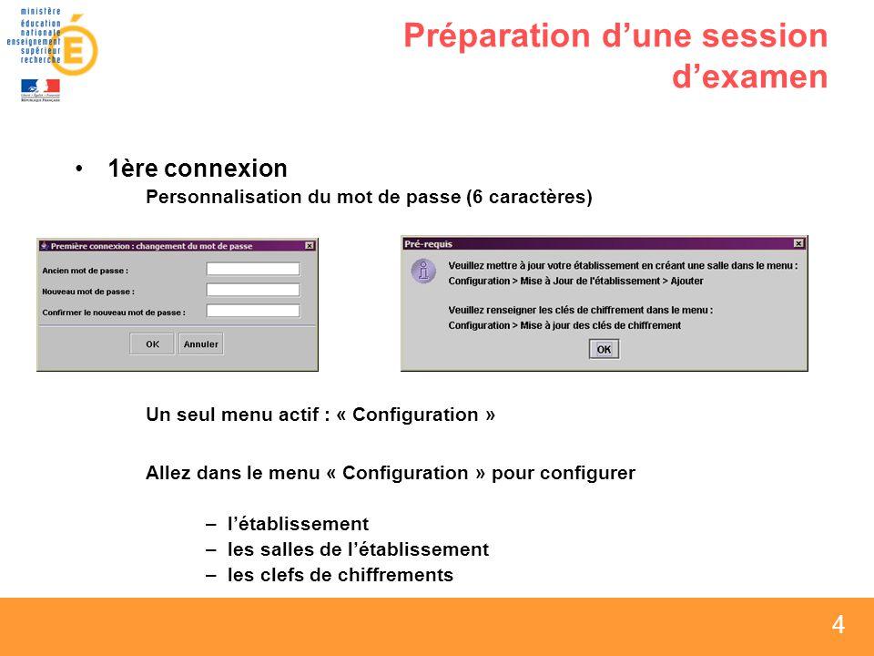 4 4 4 Préparation dune session dexamen 1ère connexion Personnalisation du mot de passe (6 caractères) Un seul menu actif : « Configuration » Allez dans le menu « Configuration » pour configurer –létablissement –les salles de létablissement –les clefs de chiffrements