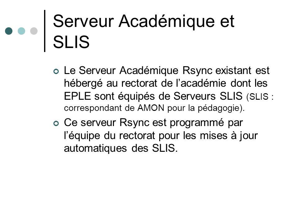 Serveur Académique et SLIS Le Serveur Académique Rsync existant est hébergé au rectorat de lacadémie dont les EPLE sont équipés de Serveurs SLIS (SLIS
