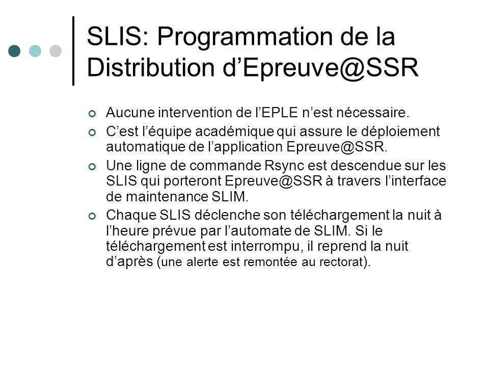 SLIS: Programmation de la Distribution dEpreuve@SSR Aucune intervention de lEPLE nest nécessaire. Cest léquipe académique qui assure le déploiement au