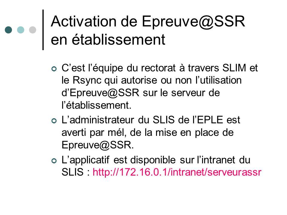 Activation de Epreuve@SSR en établissement Cest léquipe du rectorat à travers SLIM et le Rsync qui autorise ou non lutilisation dEpreuve@SSR sur le se
