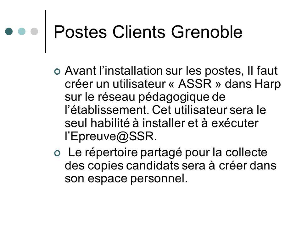 Postes Clients Grenoble Avant linstallation sur les postes, Il faut créer un utilisateur « ASSR » dans Harp sur le réseau pédagogique de létablissemen