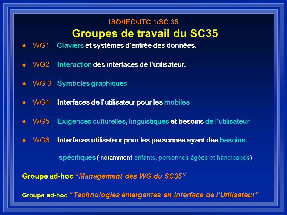 Liaisons l ISO/IEC JTC 1/SC 2 Jeux de caractères (ISO 8859, UCS...) ISO/IEC JTC 1/SC 2 l ISO/IEC JTC 1/SC 22 Langages de programmation WG 20 Internationalisation ISO/IEC JTC 1/SC 22 l ISO/IEC JTC 1/SC 32 Gestion et interchange de données ISO/IEC JTC 1/SC 32 l ISO/IEC JTC 1/SC 36Technologies de l information pour l éducation, la formation et l enseignement ISO/IEC JTC 1/SC 36 l ISO/TC 159/SC 4Ergonomie de linteraction homme-système WG 5 Ergonomie logicielle et dialogues homme-système ISO/TC 159/SC 4 l ISO/TC 211 Information géographique / GéomatiqueISO/TC 211 l CEN CEN G Comité directeur sur la diversité culturelle CEN/TC 304 Technologies des jeux de caractères