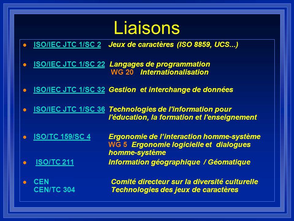 Liaisons l ISO/IEC JTC 1/SC 2 Jeux de caractères (ISO 8859, UCS...) ISO/IEC JTC 1/SC 2 l ISO/IEC JTC 1/SC 22 Langages de programmation WG 20 Internati