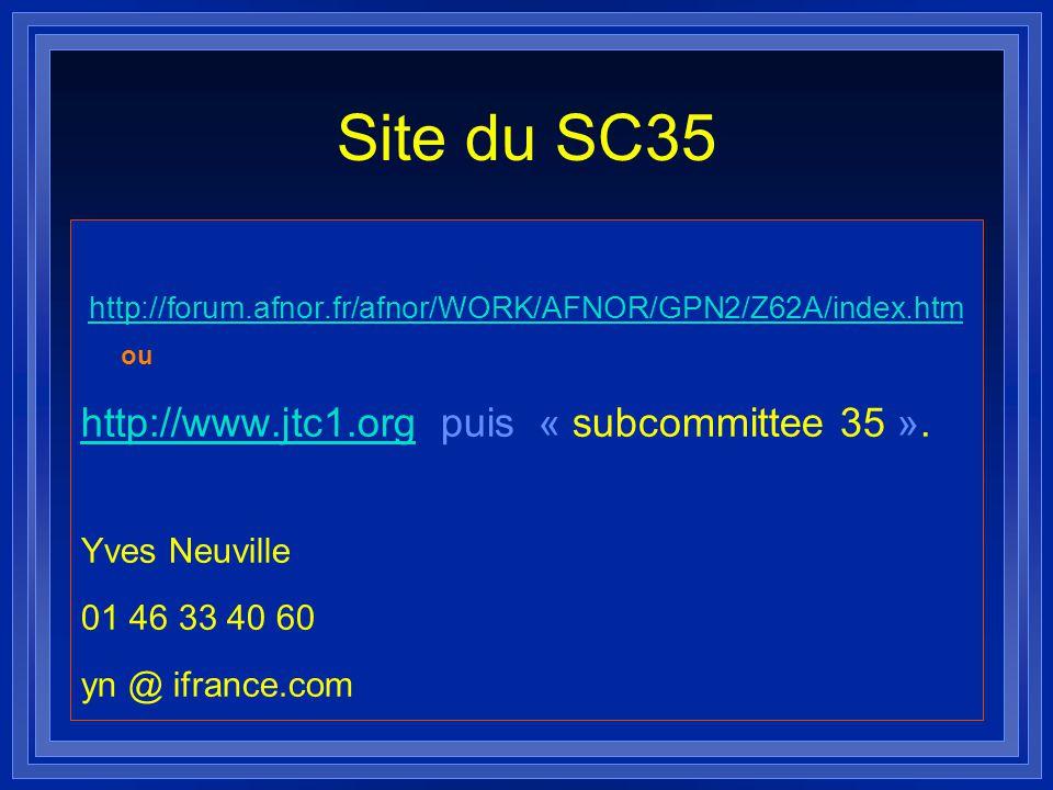 Site du SC35 http://forum.afnor.fr/afnor/WORK/AFNOR/GPN2/Z62A/index.htm http://forum.afnor.fr/afnor/WORK/AFNOR/GPN2/Z62A/index.htm ou http://www.jtc1.