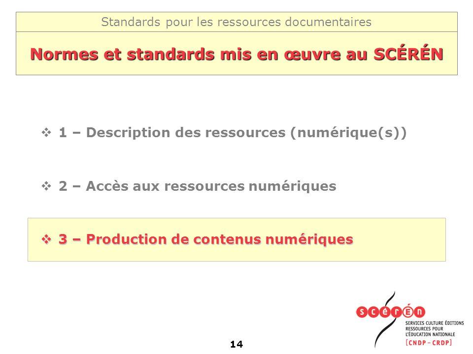 Standards pour les ressources documentaires 14 Normes et standards mis en œuvre au SCÉRÉN 1 – Description des ressources (numérique(s)) 2 – Accès aux