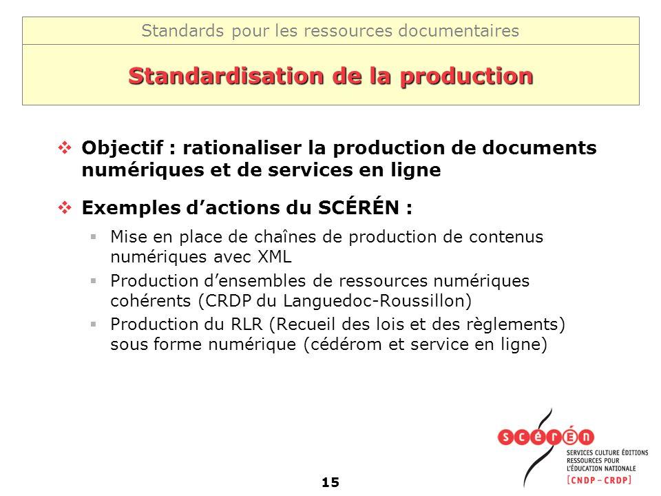 Standards pour les ressources documentaires 15 Standardisation de la production Objectif : rationaliser la production de documents numériques et de se