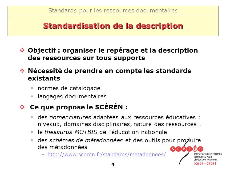 Standards pour les ressources documentaires 4 Standardisation de la description Objectif : organiser le repérage et la description des ressources sur