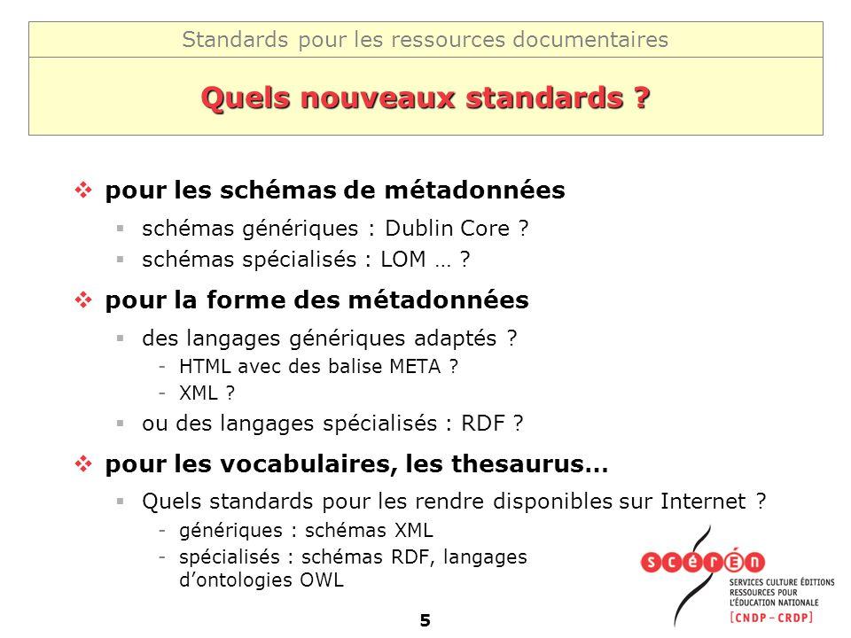 Standards pour les ressources documentaires 5 Quels nouveaux standards ? pour les schémas de métadonnées schémas génériques : Dublin Core ? schémas sp