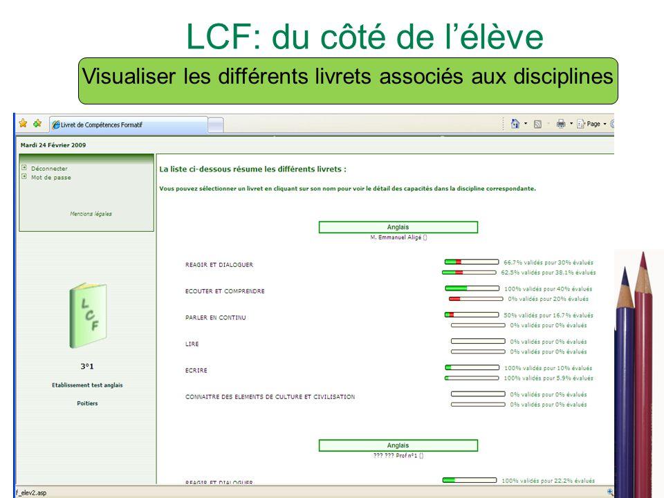 16 LCF: du côté de lélève Visualiser les différents livrets associés aux disciplines