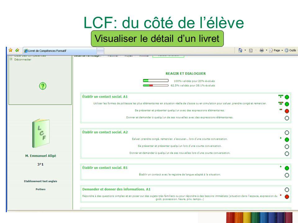 17 LCF: du côté de lélève Visualiser le détail dun livret