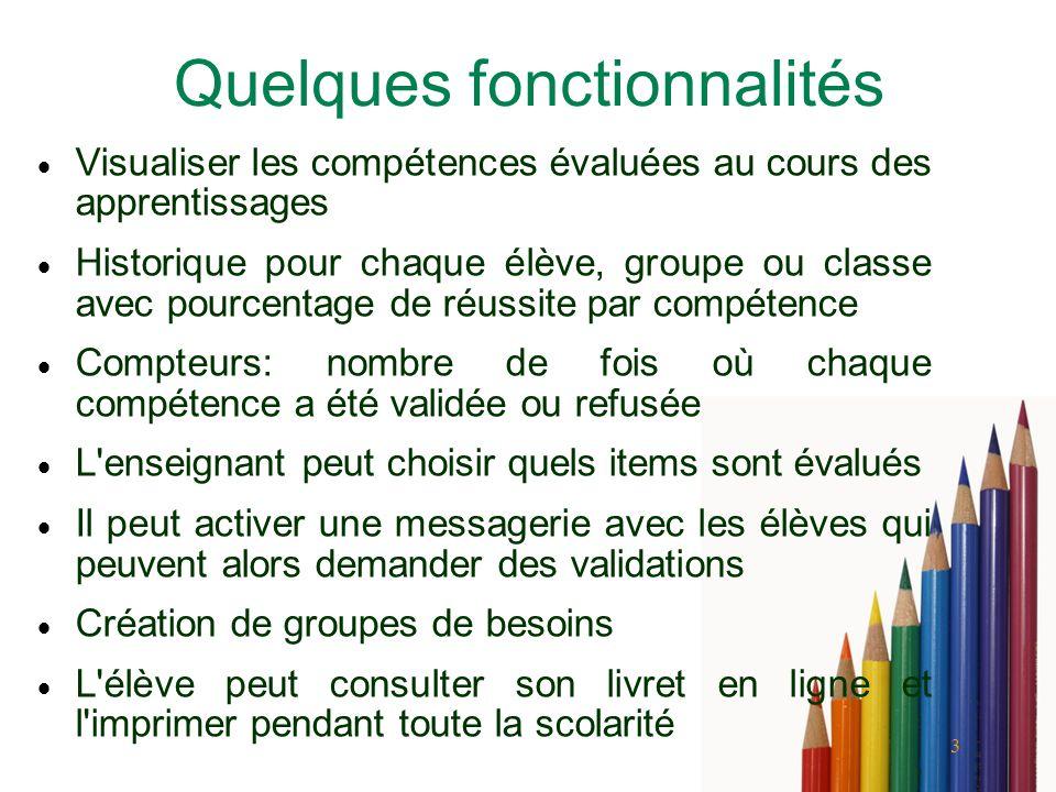 3 Quelques fonctionnalités Visualiser les compétences évaluées au cours des apprentissages Historique pour chaque élève, groupe ou classe avec pourcen