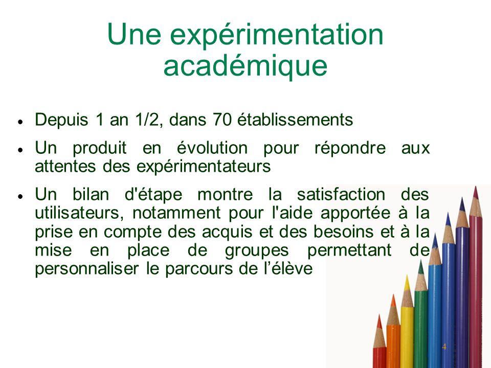 4 Une expérimentation académique Depuis 1 an 1/2, dans 70 établissements Un produit en évolution pour répondre aux attentes des expérimentateurs Un bi