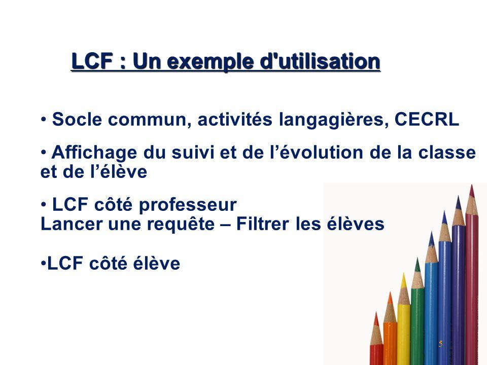5 LCF : Un exemple d'utilisation Socle commun, activités langagières, CECRL Affichage du suivi et de lévolution de la classe et de lélève LCF côté pro