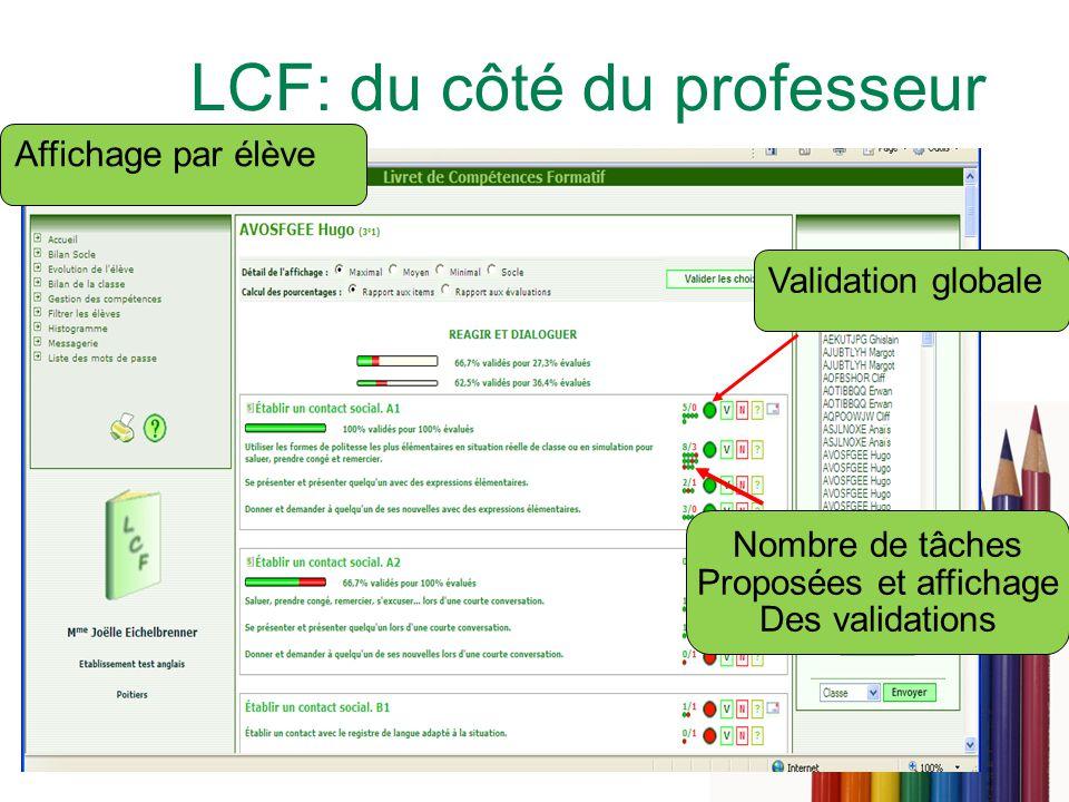 9 LCF: du côté du professeur Affichage par élève Validation globale Nombre de tâches Proposées et affichage Des validations