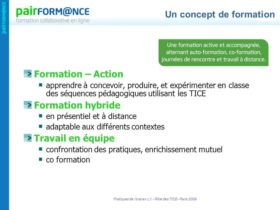 Pratiques de l'oral en LV - Rôle des TICE- Paris 2009 Formation – Action apprendre à concevoir, produire, et expérimenter en classe des séquences péda