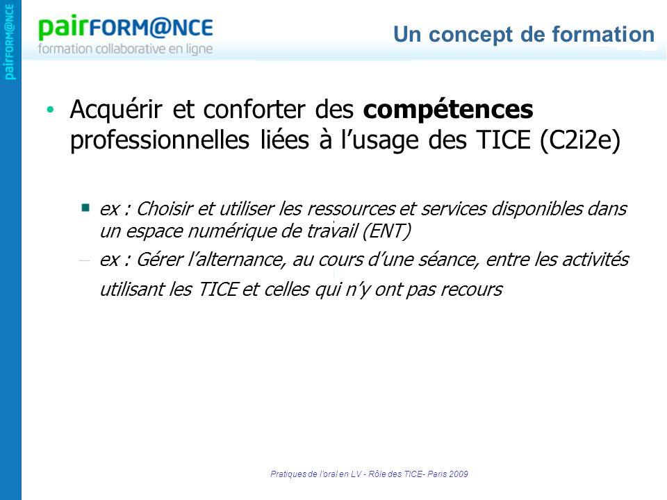 Pratiques de l'oral en LV - Rôle des TICE- Paris 2009 Acquérir et conforter des compétences professionnelles liées à lusage des TICE (C2i2e) ex : Choi
