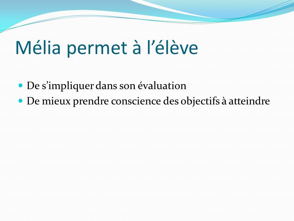 Mélia permet à lélève De simpliquer dans son évaluation De mieux prendre conscience des objectifs à atteindre