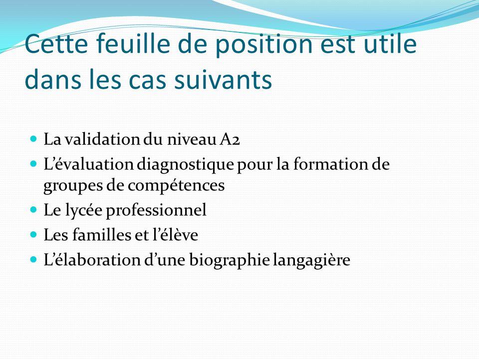 Cette feuille de position est utile dans les cas suivants La validation du niveau A2 Lévaluation diagnostique pour la formation de groupes de compétences Le lycée professionnel Les familles et lélève Lélaboration dune biographie langagière
