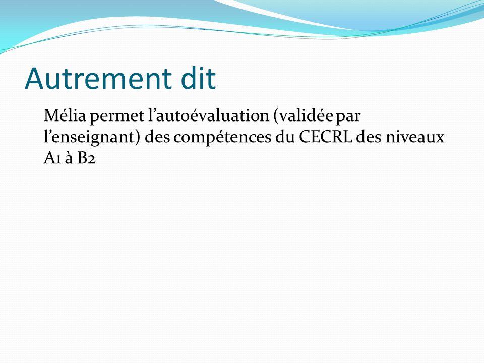 Autrement dit Mélia permet lautoévaluation (validée par lenseignant) des compétences du CECRL des niveaux A1 à B2