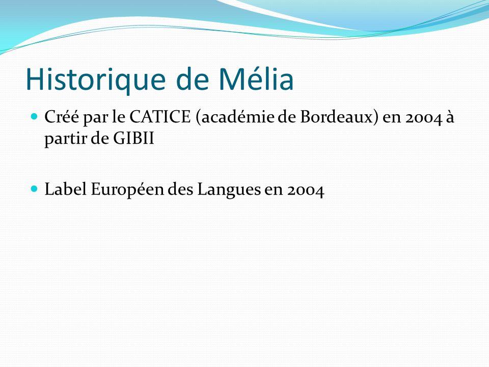 Historique de Mélia Créé par le CATICE (académie de Bordeaux) en 2004 à partir de GIBII Label Européen des Langues en 2004