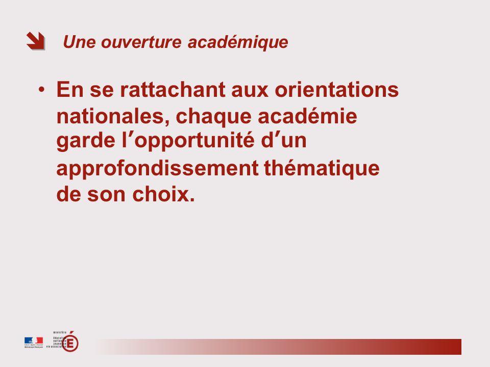 Une ouverture académique En se rattachant aux orientations nationales, chaque académie garde lopportunité dun approfondissement thématique de son choix.