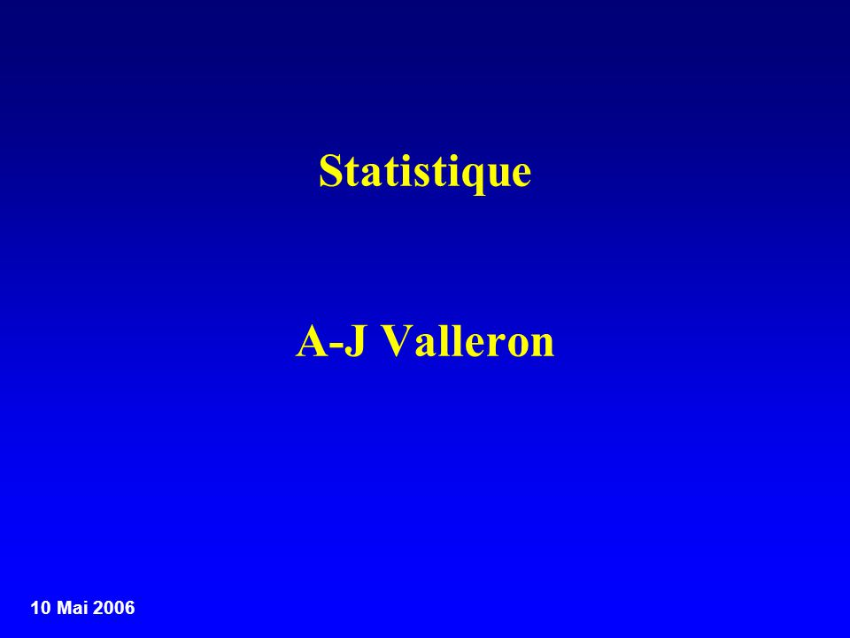 10 Mai 2006 Le projet minimal de Statistique Un échantillon, un questionnaire, une analyse, les conclusions, le rapport Remarques –Échantillon de quelle population de référence.