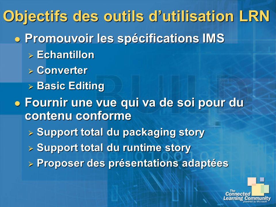 Objectifs des outils dutilisation LRN Promouvoir les spécifications IMS Promouvoir les spécifications IMS Echantillon Echantillon Converter Converter