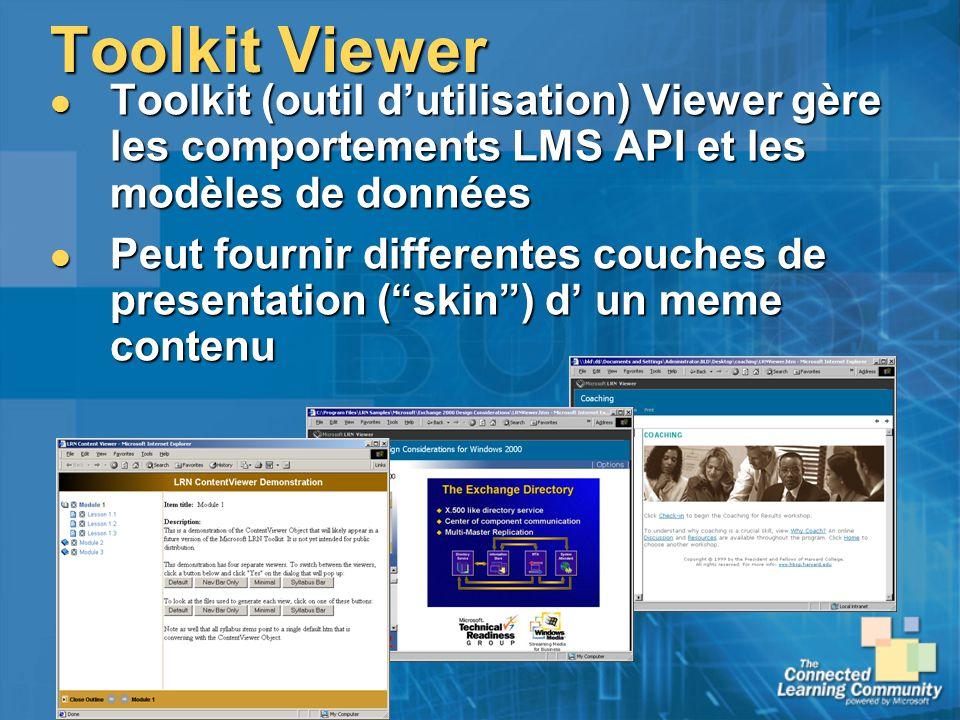 Toolkit Viewer Toolkit (outil dutilisation) Viewer gère les comportements LMS API et les modèles de données Toolkit (outil dutilisation) Viewer gère l