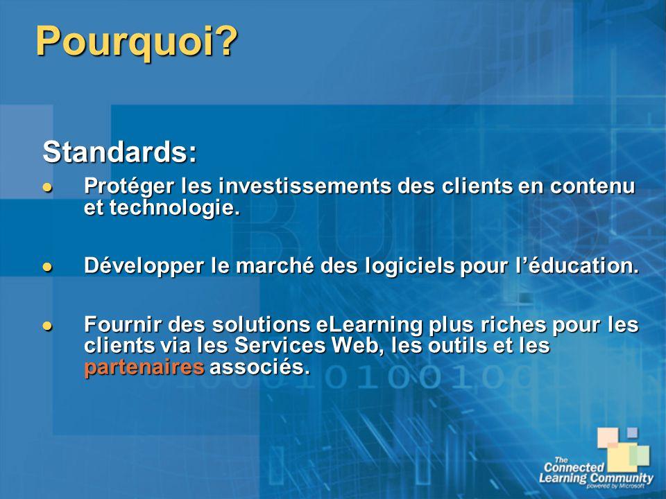 Pourquoi? Standards: Protéger les investissements des clients en contenu et technologie. Protéger les investissements des clients en contenu et techno