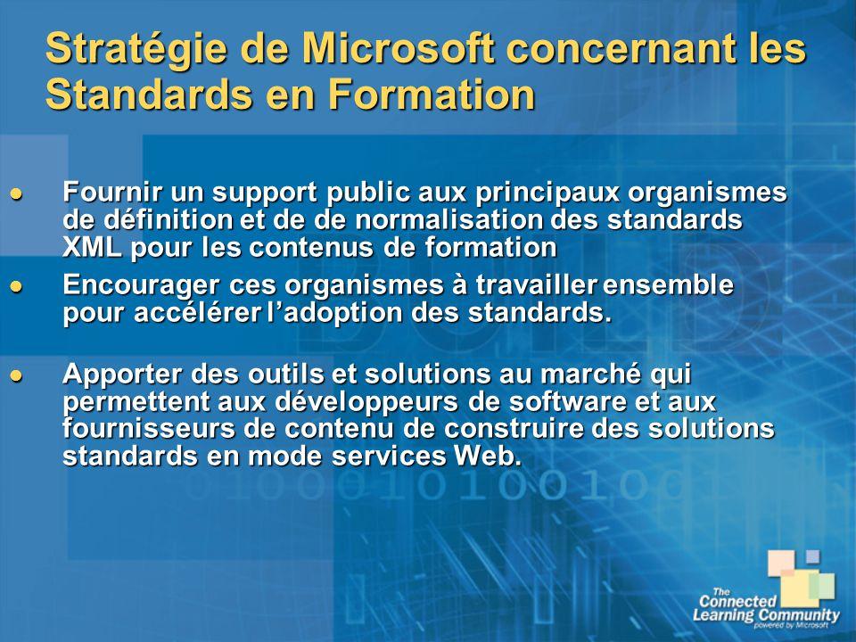Stratégie de Microsoft concernant les Standards en Formation Fournir un support public aux principaux organismes de définition et de de normalisation
