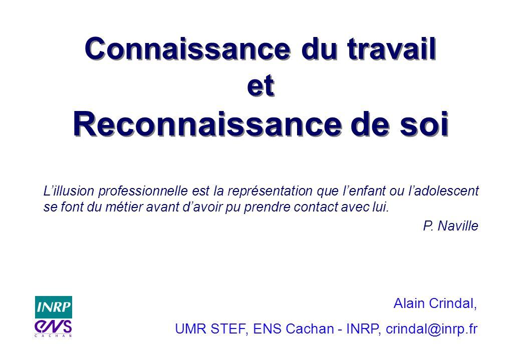 Connaissance du travail et Reconnaissance de soi Alain Crindal, UMR STEF, ENS Cachan - INRP, crindal@inrp.fr Lillusion professionnelle est la représen
