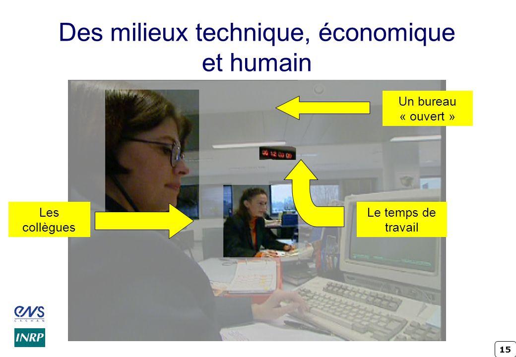 15 Des milieux technique, économique et humain Le temps de travail Les collègues Un bureau « ouvert »