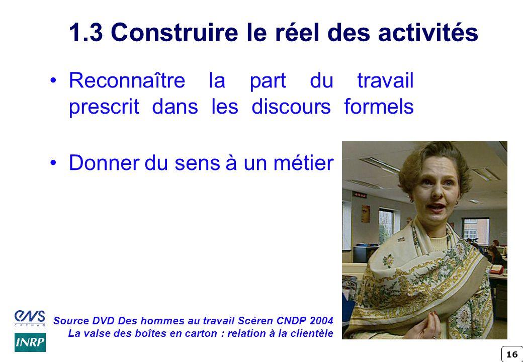16 1.3 Construire le réel des activités Reconnaître la part du travail prescrit dans les discours formels Donner du sens à un métier Source DVD Des ho