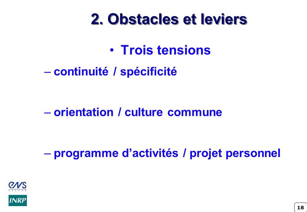 18 2. Obstacles et leviers Trois tensions –continuité / spécificité –orientation / culture commune –programme dactivités / projet personnel