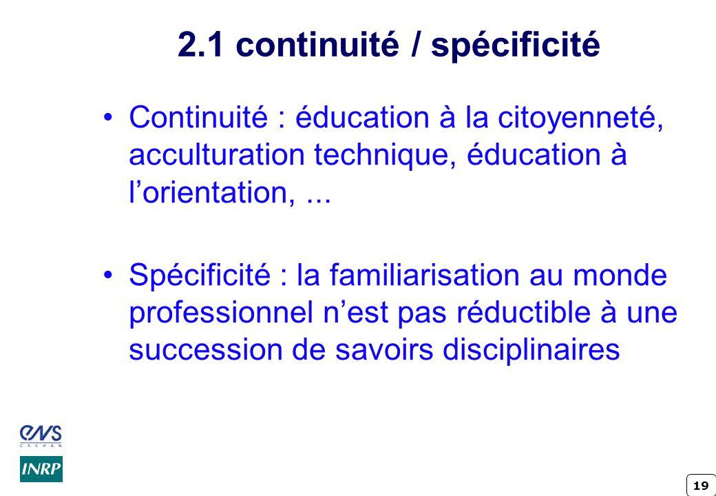 19 2.1 continuité / spécificité Continuité : éducation à la citoyenneté, acculturation technique, éducation à lorientation,... Spécificité : la famili