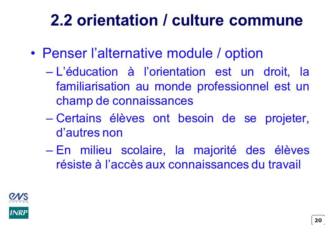 20 2.2 orientation / culture commune Penser lalternative module / option –Léducation à lorientation est un droit, la familiarisation au monde professi