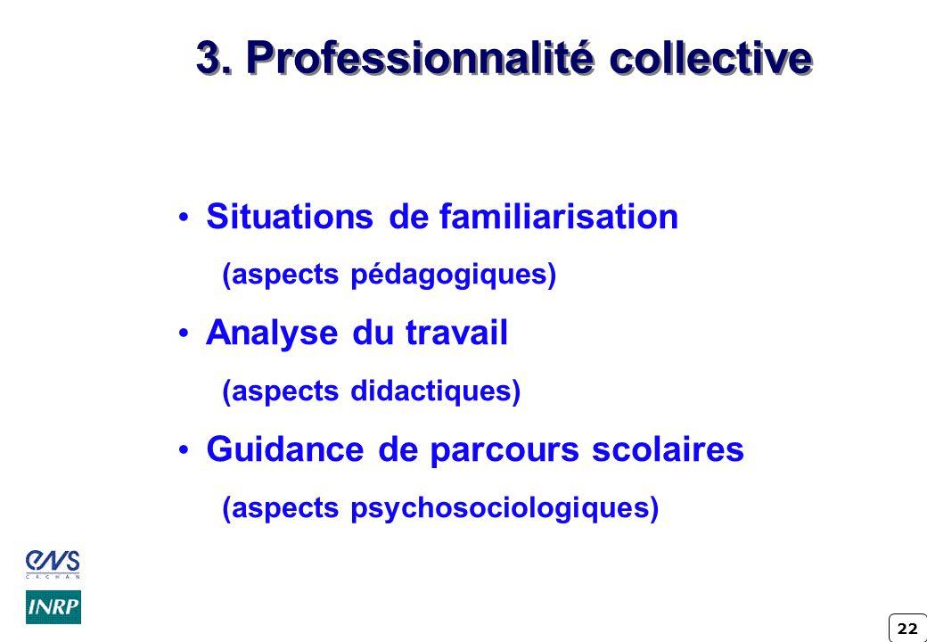 22 3. Professionnalité collective Situations de familiarisation (aspects pédagogiques) Analyse du travail (aspects didactiques) Guidance de parcours s
