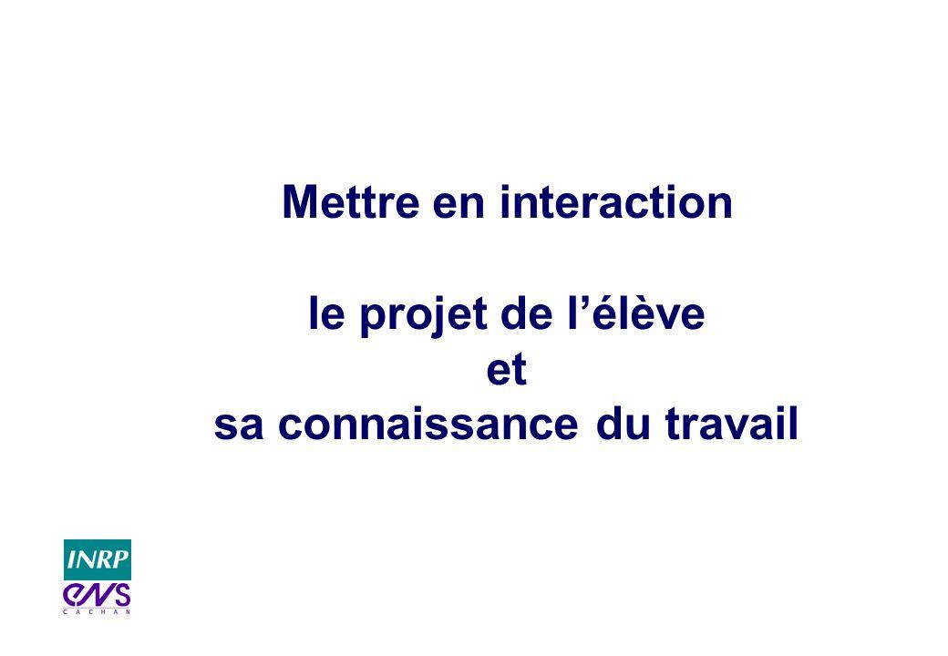 Mettre en interaction le projet de lélève et sa connaissance du travail