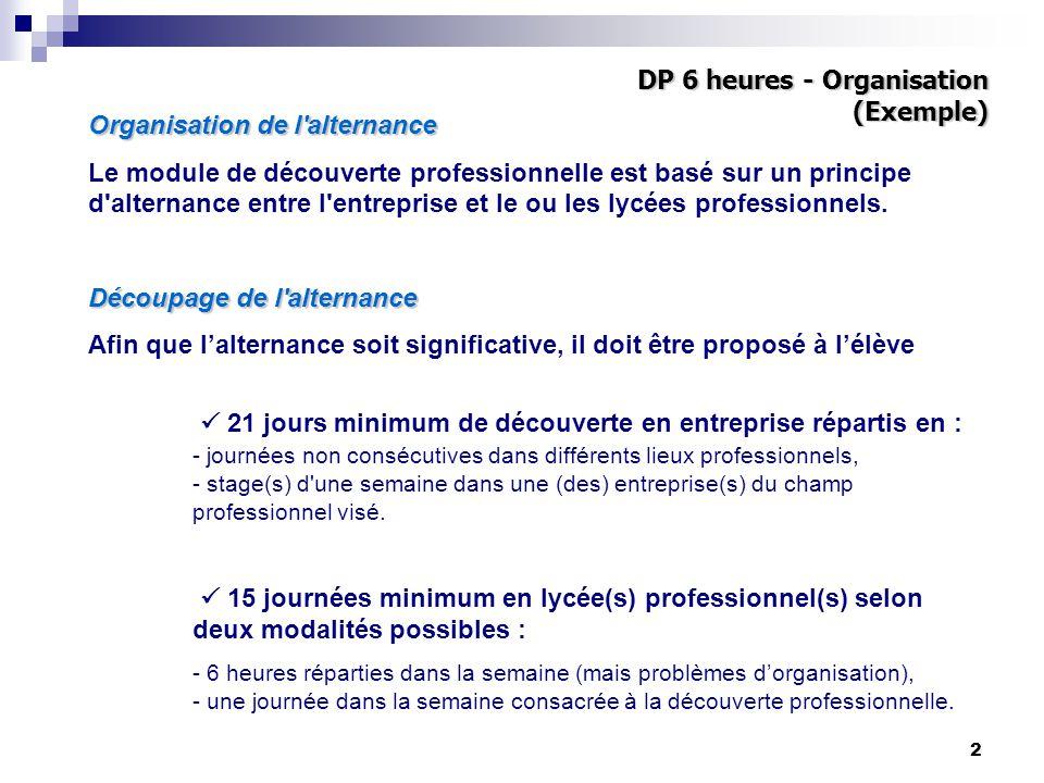 2 Organisation de l alternance Le module de découverte professionnelle est basé sur un principe d alternance entre l entreprise et le ou les lycées professionnels.