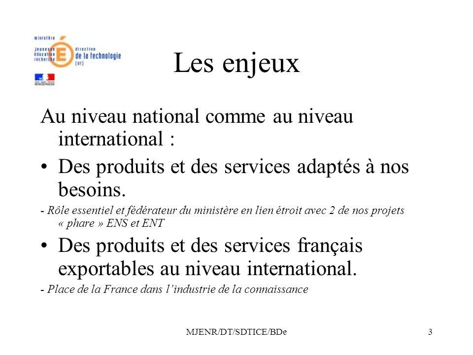 MJENR/DT/SDTICE/BDe3 Les enjeux Au niveau national comme au niveau international : Des produits et des services adaptés à nos besoins.