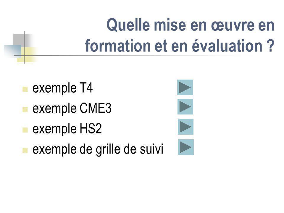 Quelle mise en œuvre en formation et en évaluation ? exemple T4 exemple CME3 exemple HS2 exemple de grille de suivi