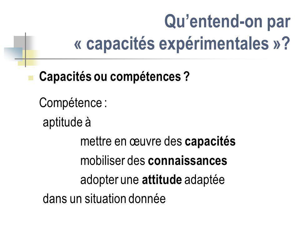 Quentend-on par « capacités expérimentales »? Capacités ou compétences ? Compétence : aptitude à mettre en œuvre des capacités mobiliser des connaissa