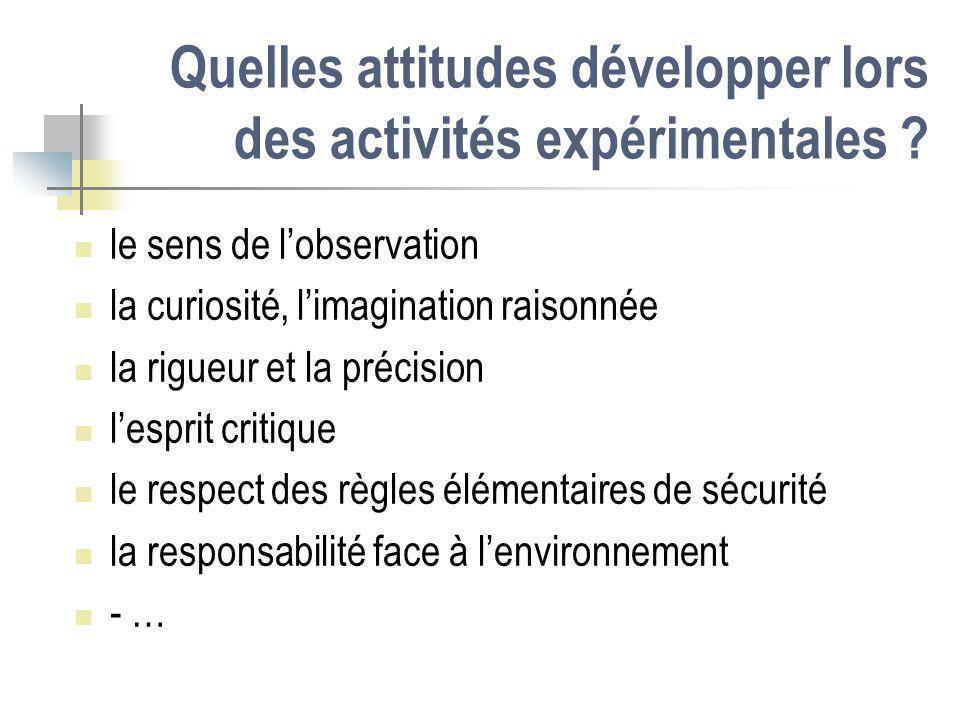 Quelles attitudes développer lors des activités expérimentales ? le sens de lobservation la curiosité, limagination raisonnée la rigueur et la précisi