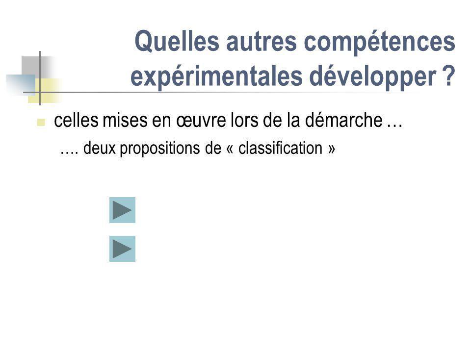 Quelles autres compétences expérimentales développer ? celles mises en œuvre lors de la démarche … …. deux propositions de « classification »