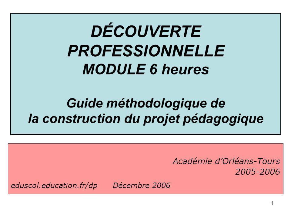 1 Académie dOrléans-Tours 2005-2006 eduscol.education.fr/dp Décembre 2006 DÉCOUVERTE PROFESSIONNELLE MODULE 6 heures Guide méthodologique de la constr
